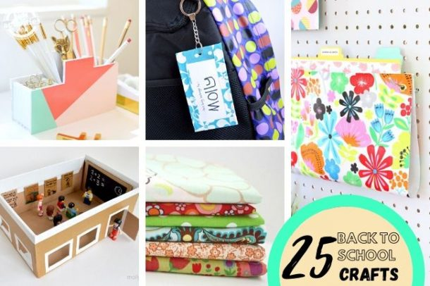 collage of DIY projects for kids to try before school opens