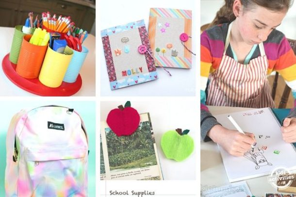 collage of DIY crafts for kids in back to school theme