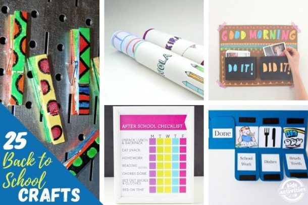collage of back to school art projects
