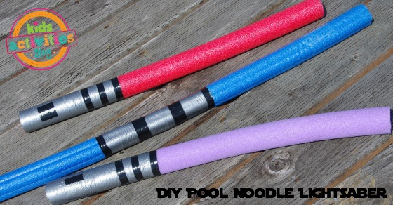 Pool Noodle lightsabers that are red, blue, purple, with silver and black handles.