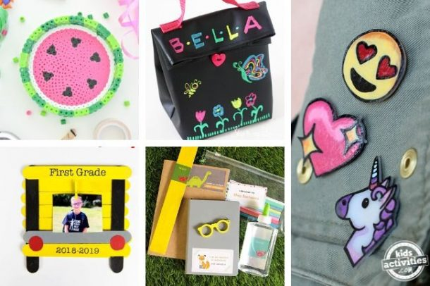 collage of diy projects for kids for school
