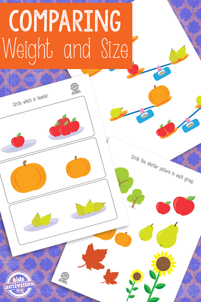 Comparing Weight and Size Printable worksheet with a bunch of apples compared to one apple, a big pumpkin and small pumpkin, a lot of pears and not very many pears.