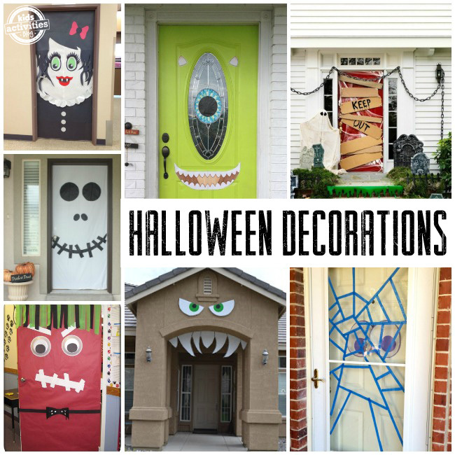 Homemade Halloween Doors Decorations - variety of fun ideas