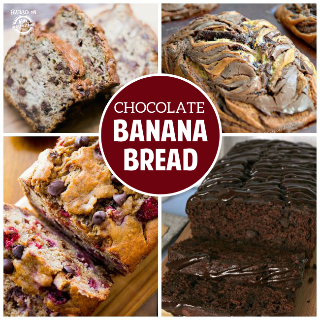 Homemade banana bread with chocolate chips, cookie banana bread, brownie banana bread