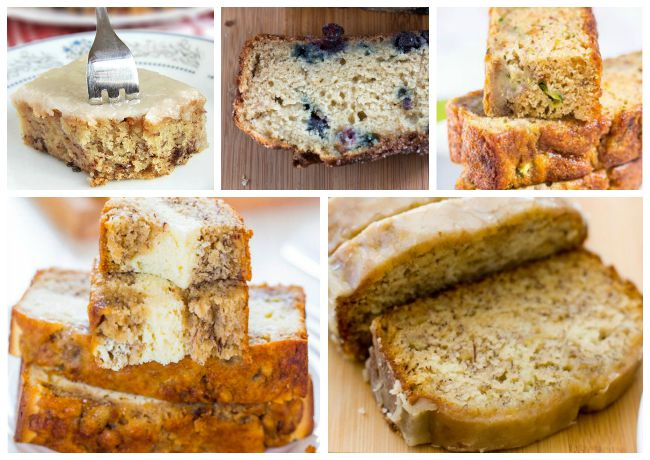 The best banana bread recipe with cream cheese, maple glaze, blueberries, carrot cake banana bread.