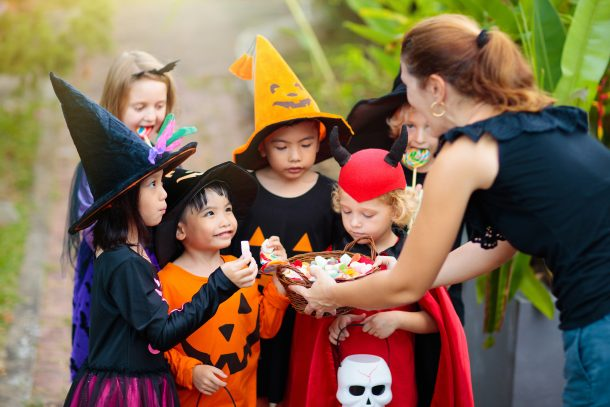 kids having halloween fun