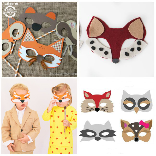 These animal masks are all the woodland creatures like foxes, owls, deer, racoons.