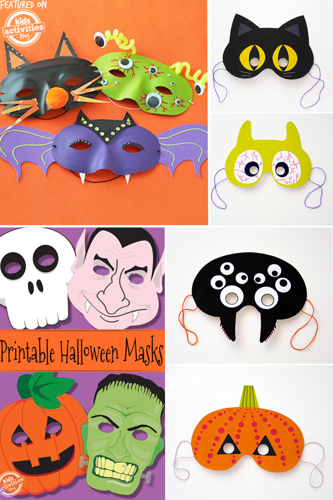 Printable halloween masks that include, spiders, monsters, frankenstein, dracula, a cat, and jackolantern.