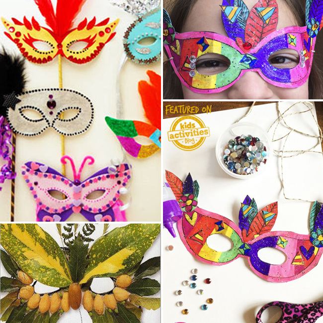 These mardi gras masks are beautiful! There are felt masquerade masks that look like butterflies and birds, a rainbow mardi gras paper mask, a nature made owl mask.
