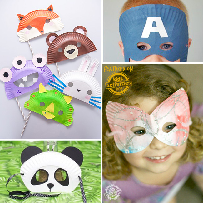 Make your own paper plate mask like these animal masks that include a panda, brown bear, fox, or a dinosaur mask, or a captain America mask, or a butterfly mask.