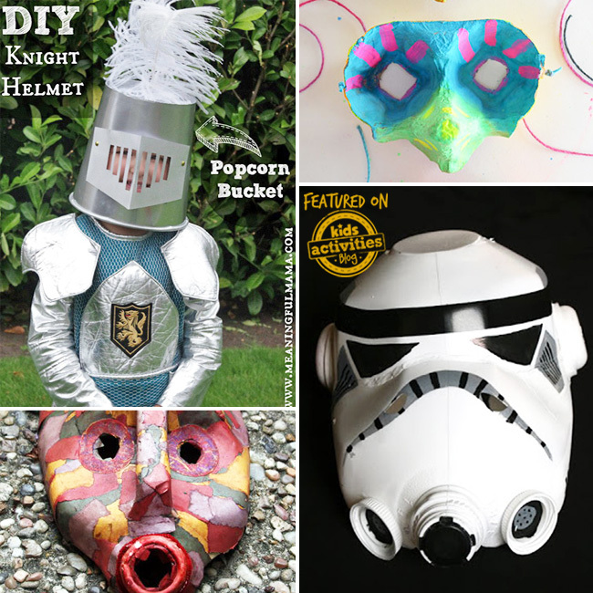 Recycled masks that look like plate armor, a tiki mask, a stormtrooper mask, and a small bird-like mask.