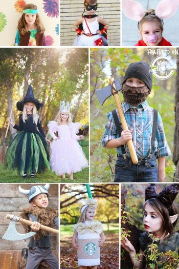 kids halloween homemade costumes that include witches, lumberjacks, and vikings