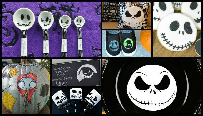Super cute collage of the Nightmare Before Christmas crafts that your family will love