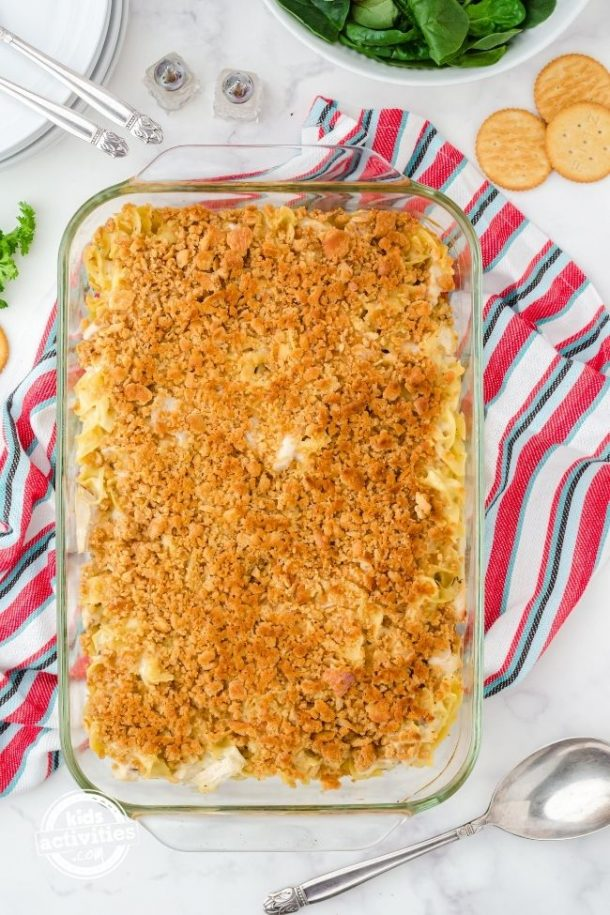 Ready to serve chicken noodle casserole in baking dish.