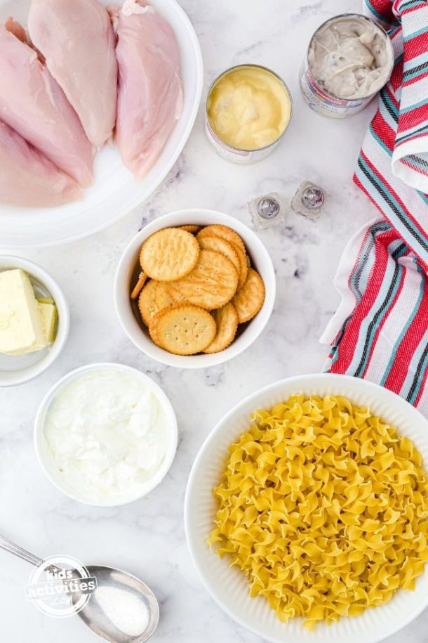 Ingredients for Chicken Noodle Casserole with Ritz Crackers