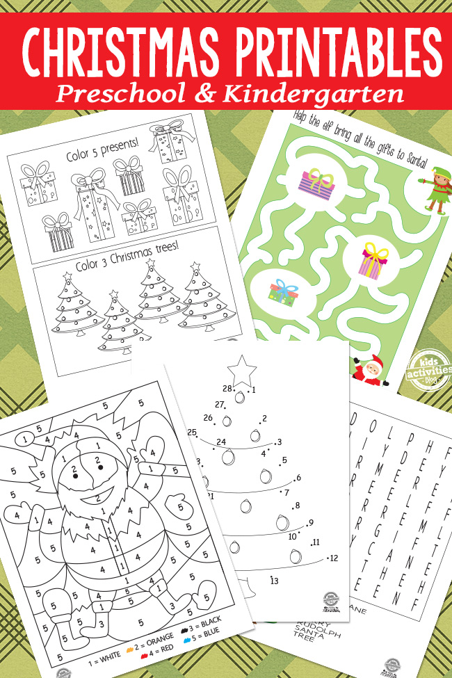 Preschool Christmas printable worksheets and Christmas Kindergarten worksheets to print and play - 5 are shows with various games