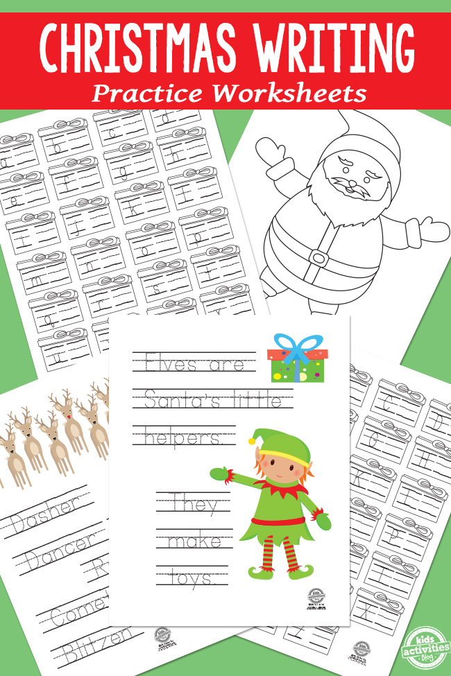 Christmas Writing Practice Worksheets to learn their Christmas names, words, and their letters.