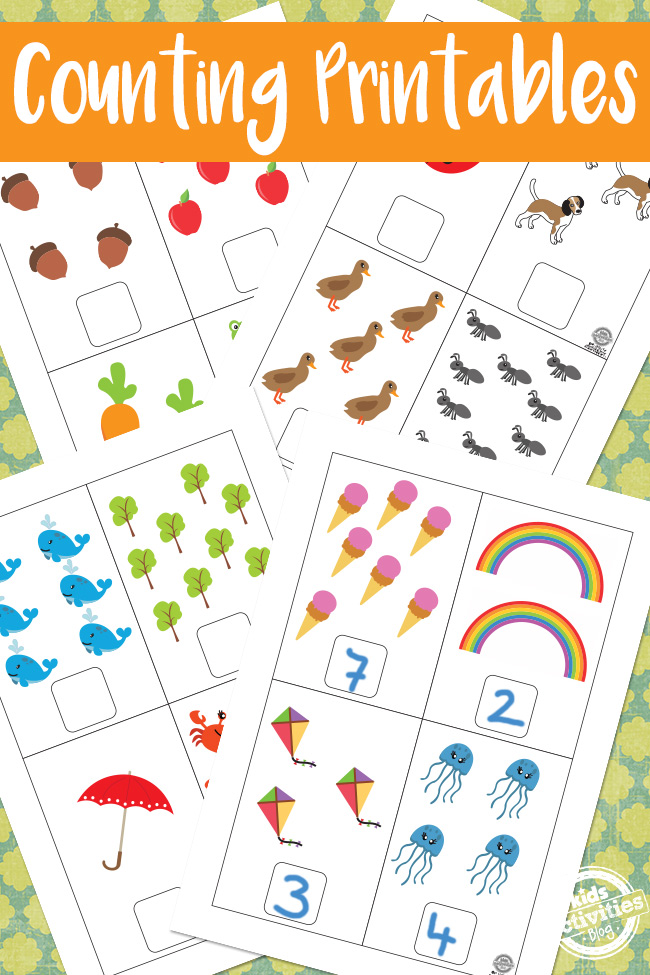 fun, educational, free, Counting Printables, with animals, trees, ice creams, acorns, bugs, and rainbows.