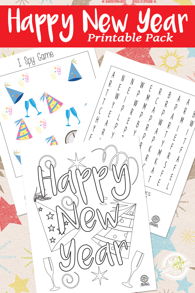 Happy New Year Printable Pack for Kids - printed version of New Year word search, Happy New Year coloring page and NYE I Spy Game