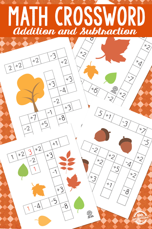 Fall Math Crossword Puzzles