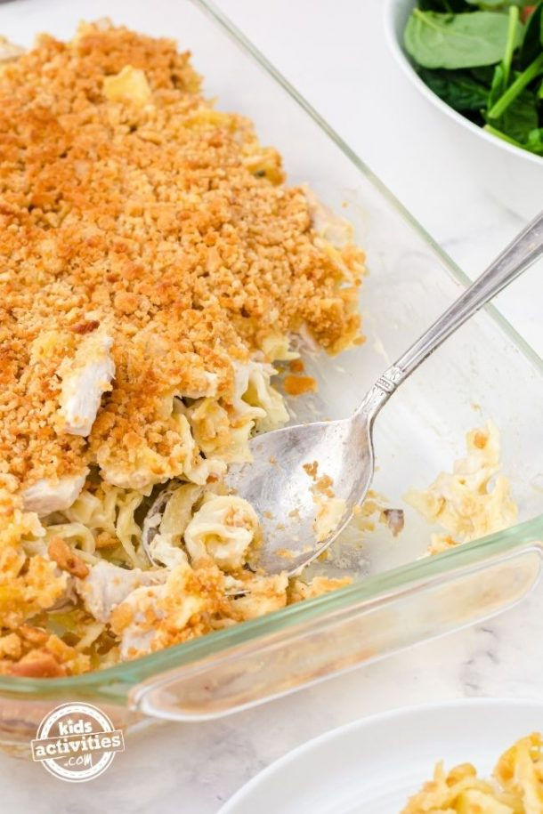 Chicken Noodle Casserole with serving spoon.