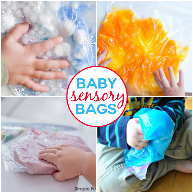 sensory bags for toddlers with salt dough, pom poms, slime, and gelatin