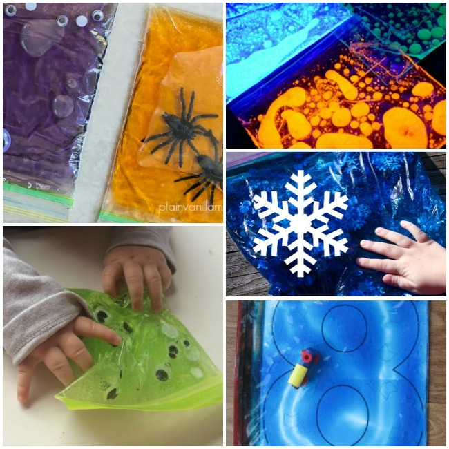 sensory bags for babies with snow, googly eyes, cars, and spiders.