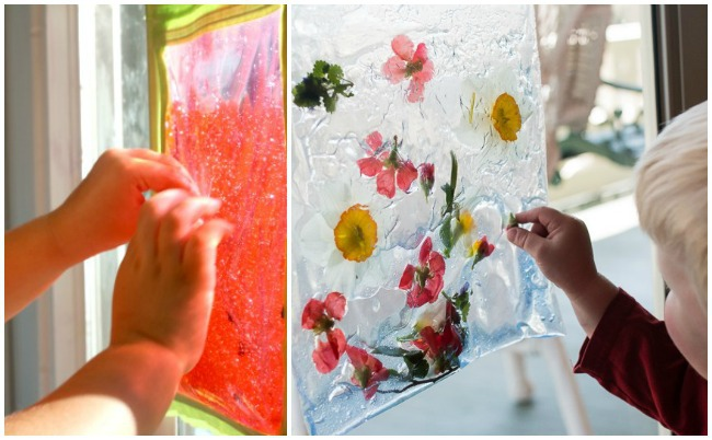 sensory bag ideas with watermelon seeds and flowers