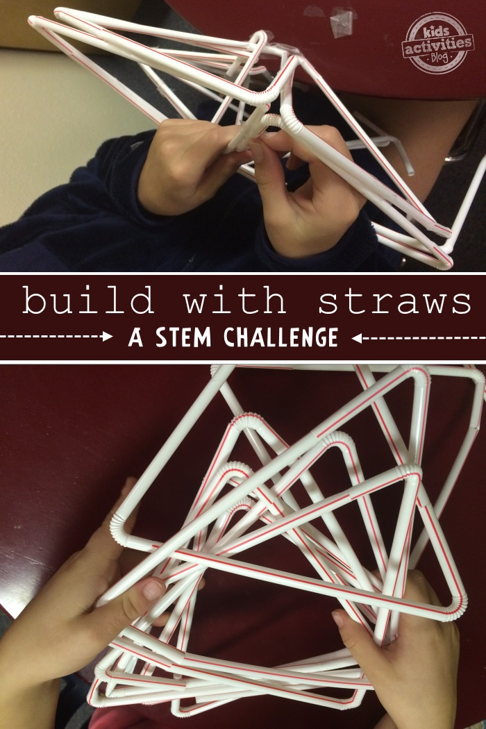 STEM activity where you build with straws