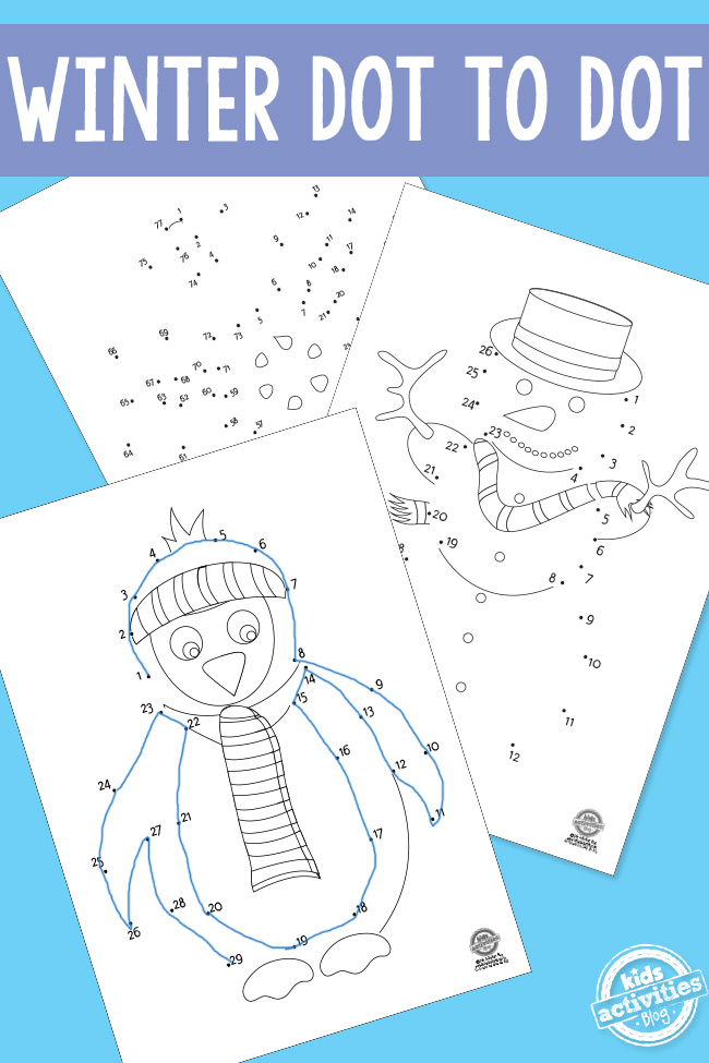 Winter Dot To Dot Printable Worksheets For Preschoolers
