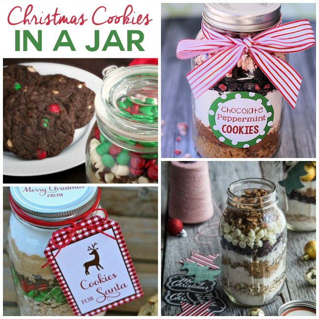 20 Yummy Cookies In A Jar - These are Christmas cookie ingredients in a jar that make lovely Christmas gifts - 4 pictured