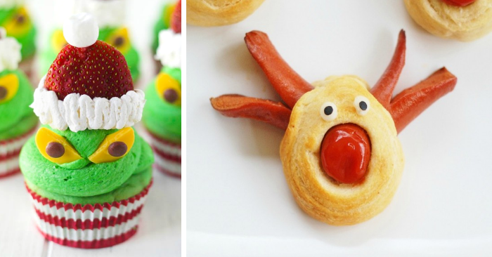 fun christmas desserts with grinch cupcakes with strawberry hats, and hot dog and biscuit