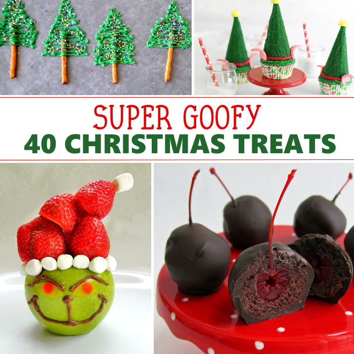 Christmas treats diy with preztel frosting trees, elf hat cupcakes, grinch grapes, and chocolate covered cherries