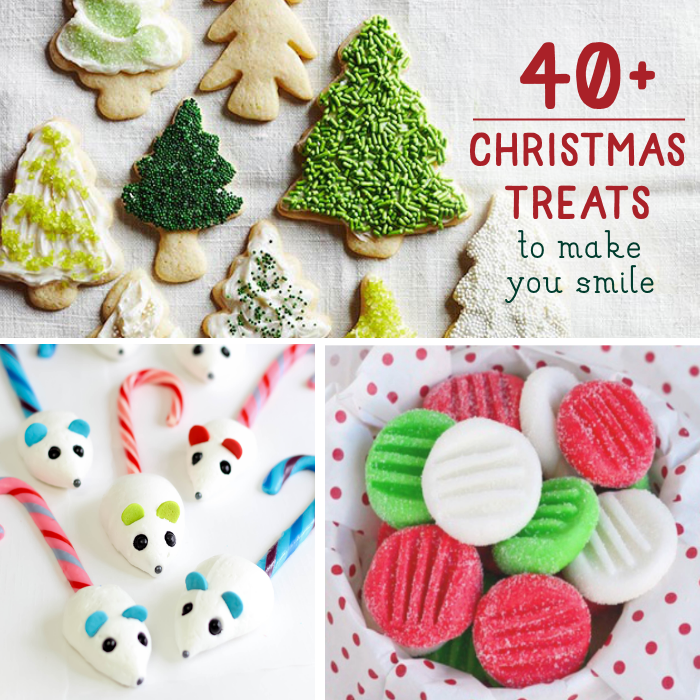 Christmas Treat Ideas with christmas tree cookies, candy cane mice, and peppermint patties