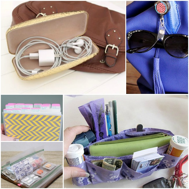 Handbag storage ideas with a name tag holder, glasses case, coupon organizer, and DIY organizer.