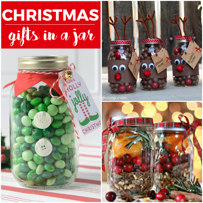 christmas gifts in a jar- elf in a jar is green m&m's, and the reindeer jar has whoppers in them, and the last one has cranberries, herbs, and oranges to make the house smell good.