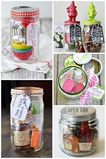 15 DIY Gifts In A Jar that include baking goods, tea, booze, bath and body works