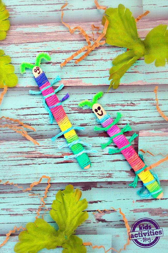 Easy Yarn-Wrapped Craft Stick Caterpillars