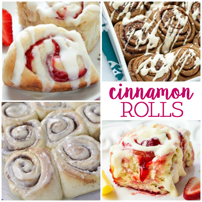 Delicious and easy cinnamon roll recipes to make like this raspberry cinnamon roll with vanilla icing, and this strawberry cinnamon roll with icing and classic cinnamon rolls with icings.