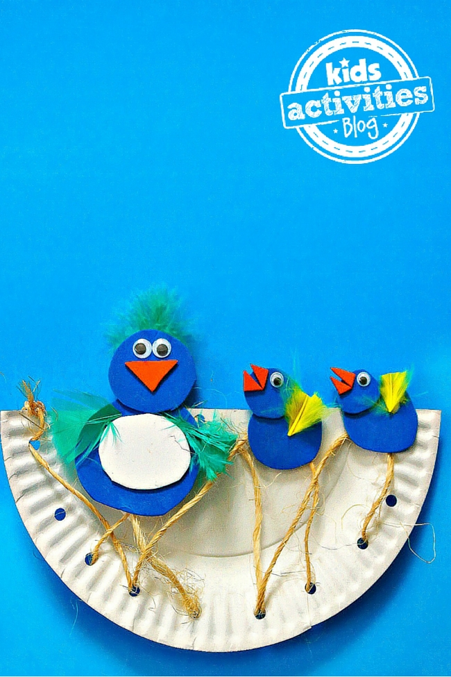 Cutest Momma & Baby Birds in a Nest Paper Plate Craft