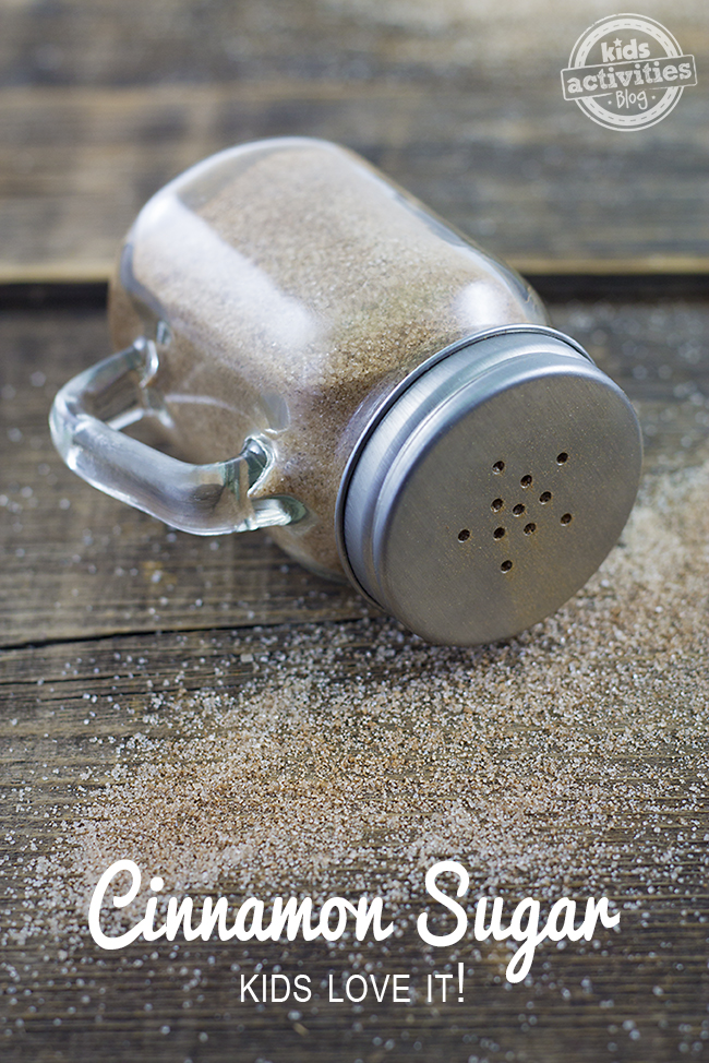 DIY Cinnamon Sugar is easy to make! Sprinkle on toast and serve with a side of fruit for an easy breakfast!