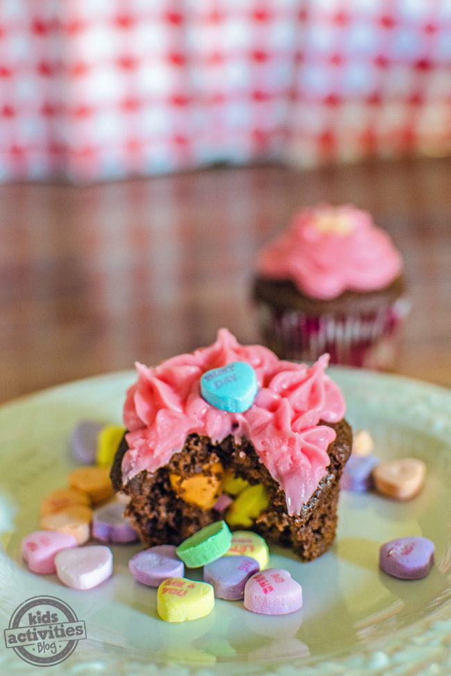 Conversation Heart Surprise Valentines Cupcakes Perfect for Kids