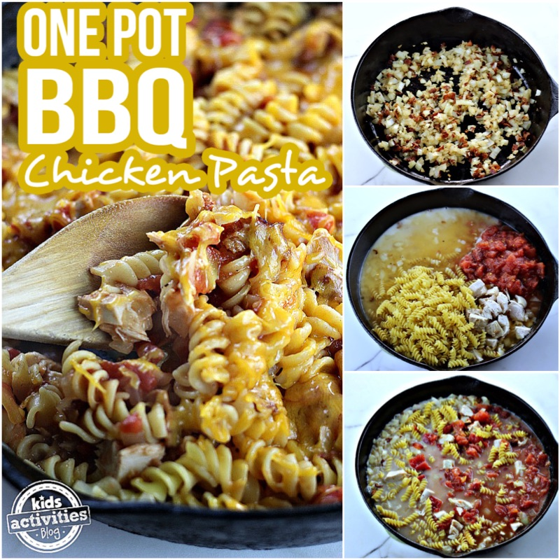 One Pot BBQ Chicken Pasta Collage