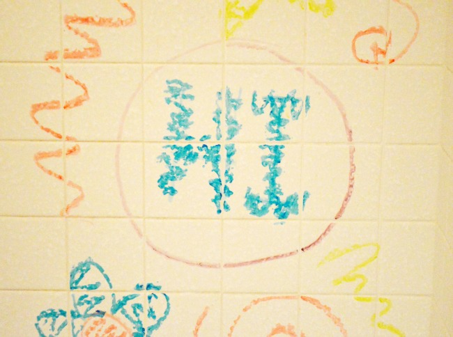 bath crayons on wall