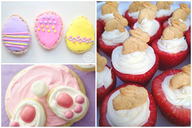 Betty Crocker bunny tales, egg cookies, and cheese cake in strawberries with bunny graham crackers
