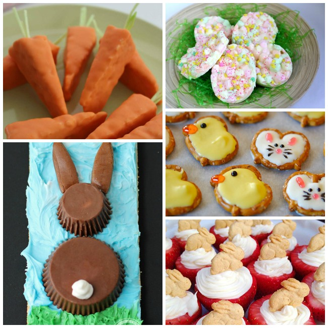 Easter treats for kids like the carrot rice krispie treats, marshmallow rice krispie treats, easter pretzels that look like bunnies and duckies, chocolate bunny made from reeses, and easter cheesecake in strawberries with graham cracker bunnies on top.