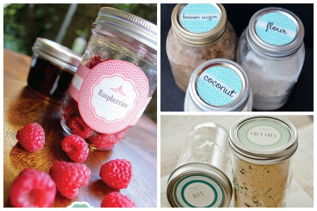 Mason jar organizer ideas to label berries, flour, and seasoning.