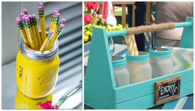 Mason jar storage ideas for yellow number 2 pencils and utensils for picnics.