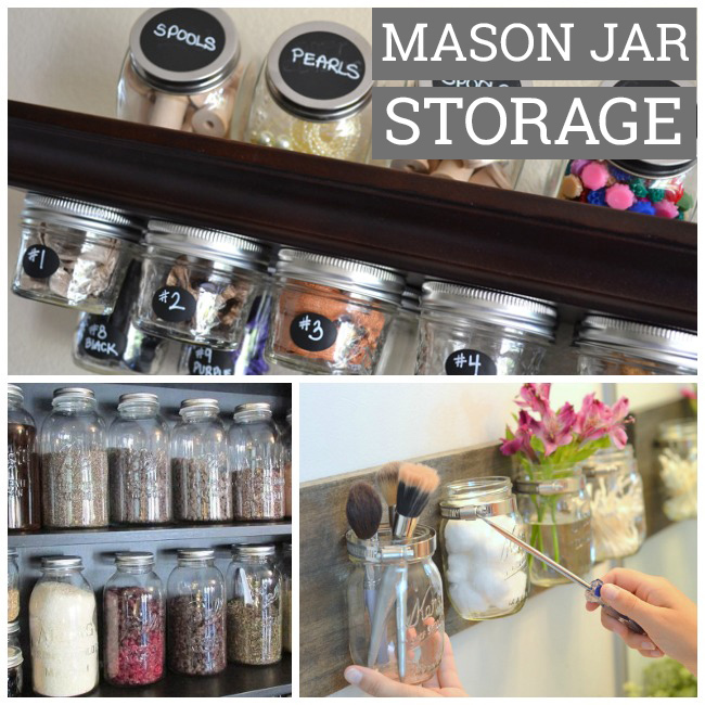 Mason jar pantry storage for holding beans, flour, and seasonings.