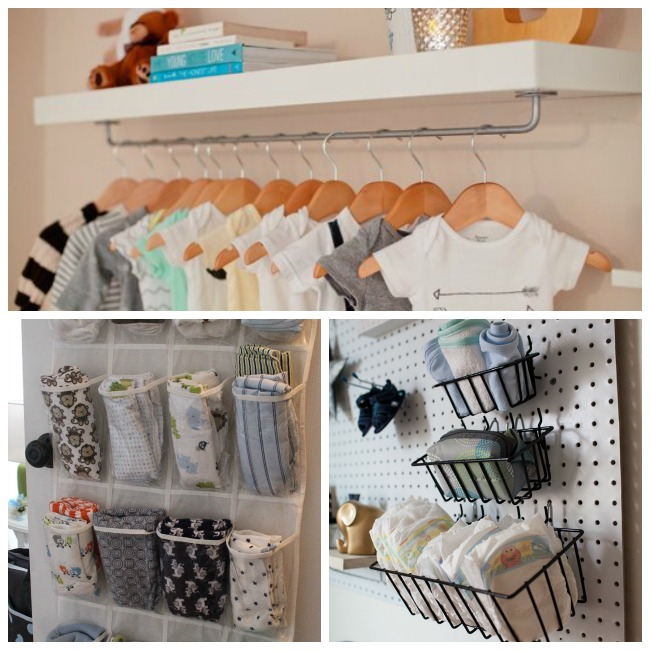 15 Nursery Organization Ideas using shoe racks to keep burp blankets in order, tool baskets for diapers, and hangers for onesies.